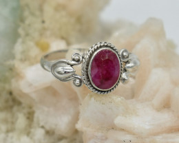 CERTIFIED  RING 925 STERLING SILVER RUBY  NATURAL GEMSTONE JE1246