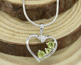 CERTIFIED  PENDANT 925 STERLING SILVER PERIDOT  NATURAL GEMSTONE JE1247