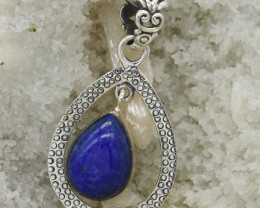 CERTIFIED  PENDANT 925 STERLING SILVER LAPIS LAZULI  NATURAL GEMSTONE JE124