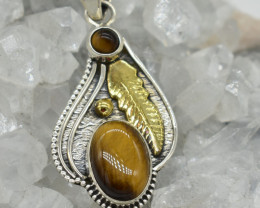 CERTIFIED  PENDANT 925 STERLING SILVER TIGER EYE  NATURAL GEMSTONE JE1253