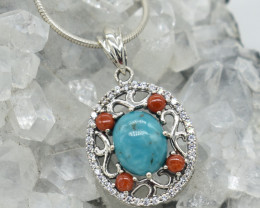 CERTIFIED  PENDANT 925 STERLING SILVER TURQUOISE  NATURAL GEMSTONE JE1257