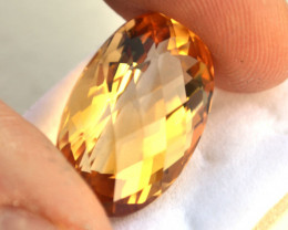 27.44 Carat Citrine -- Nice Oval Checkerboard Cut Citrine