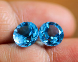 6.81 CTS ELECTRIC BLUE TOPAZ PAIRS STUNNING  [GERMANY TREATED][S-SAFE229]