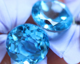7.10 CTS ELECTRIC BLUE TOPAZ PAIRS STUNNING  [GERMANY TREATED][S-SAFE232]