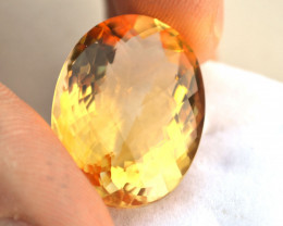 32.55 Carat Citrine -- Fine Oval Checkerboard Cut Stone