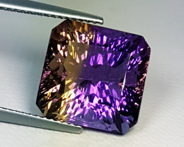"10.58 ct "" Rare Gem "" Bi-Colour Emerald Concave Cut Ametrine"
