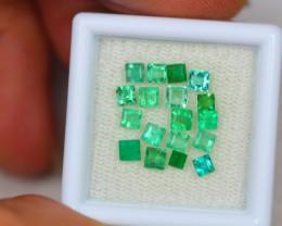 2.34ct Zambia Green Emerald Square Cut Lot V2884