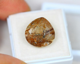 9.69ct Brown Gold Needle Rutile Quartz Pear Cut Lot V2886