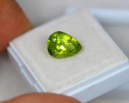 3.70ct Green Peridot Pear Cut Lot V2887