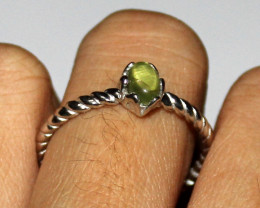 Natural Peridot 925 Sterling Silver Ring Size (9 US) 11