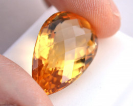 27.65 Carat Citrine -- Fine Pear Checkerboard Cut Stone
