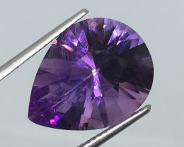 8.48 Carat VS Amethyst Pear Precision Fancy Cut Uruguay Quality !
