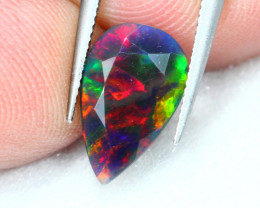 1.36Ct Natural Broadflash Ethiopian Welo Black Smoked Faceted Opal ~ A14/2