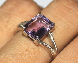 Natural Amethyst 925 Sterling Silver Ring Size (7 US) 7