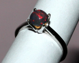 Natural Ethiopian Welo Fire Smoked Opal 925 Silver Ring Size (6 US) 18