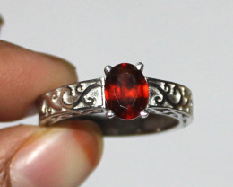Natural Hassonite Garnet 925 Sterling Silver Ring Size (8 US) 16