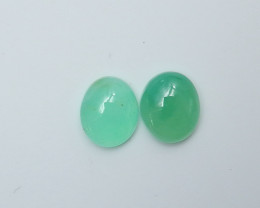 7.5cts high quality  natural chrysoprase cabochon pairs semi-gem (A616)