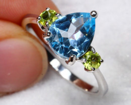 12.81cts Topaz Peridot 925 Sterling Silver Ring Us 8