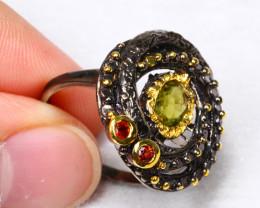 30.44cts Peridot Garnet 925 Sterling Silver ring US 6.5