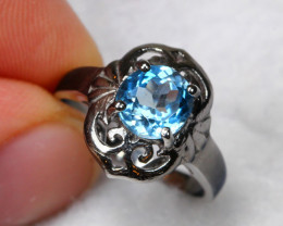 11.31cts Topaz 925 Sterling Silver Ring US 4
