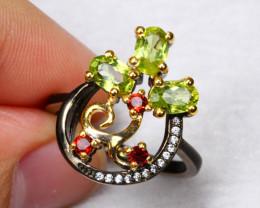18.15cts Green Peridot Garnet 925 Sterling Silver Ring US 7