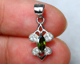 4.85cts Green Chrome Diopside 925 Sterling Silver Pendant