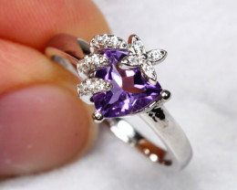 10.73cts Purple Amethyst 925 Sterling Silver Ring US 6