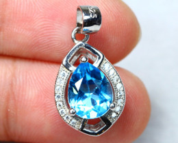 10.23cts Blue Topaz 925 Sterling Silver Pendant