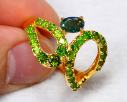 19.83cts Black Opal Chrome Diopside 925 Sterling Silver Ring US 7