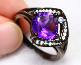 22.14cts Purple Amethyst 925 Sterling Silver Ring US 8