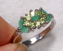 16.73cts Green Emerald 925 Sterling Silver Ring US 8.5