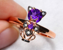 14.62cts Purple Amethyst 925 Sterling Silver Ring US 8.75