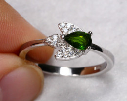 11.91cts Green Chrome Diopside 925 Sterling Silver Ring US 7.5