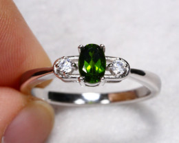 13.15cts Green Chrome Diopside 925 Sterling Silver Ring US 8