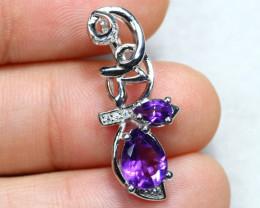 11.68cts Purple Amethyst 925 Sterling Silver Pendant