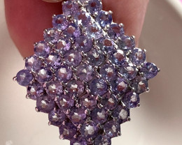 ⭐'Tanzanite Diamond' Glittering Tanzanite Gem Sterling Silver Pendant