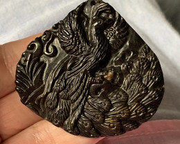 ⭐ 157.00ct SUPERB PEACOCK CAMEO CARVING IN JASPER - DRILLED AS A PENDANT