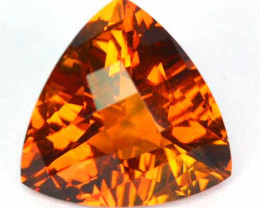 4.93 Cts Natural Bronze Orange Citrine Trillion - Checkerboard Brazil