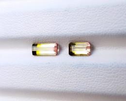 1.45 Ct Natural Bi Color Transparent Small Tourmaline Gemstones Pairs