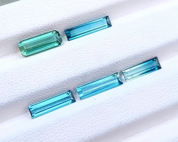 5.75 Ct Natural Blueish Transparent Tourmaline Gemstones Parcels