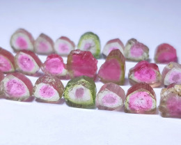 46 Ct Natural Polished Watermelon Tourmaline Slices Parcel