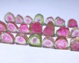 46 Ct Natural Polished Watermelon Tourmaline Slices Parcel
