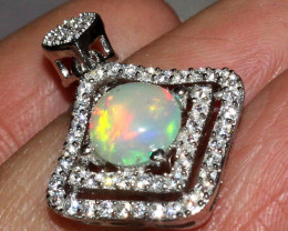 Natural Ethiopian Welo Fire Opal 925 Sterling Silver Pendant 54