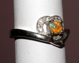 Natural Ethiopian Welo Fire Opal 925 Silver Ring Size ( 5 US) 27