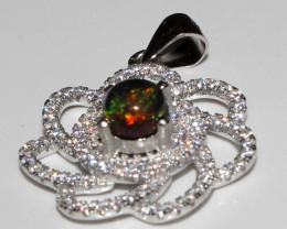 Natural Ethiopian Welo Fire Smoked Opal 925 Silver Pendant 53