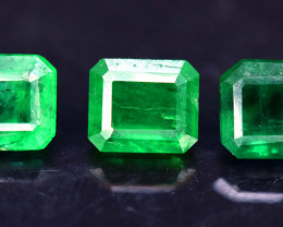 03 Pieces 1.20 Carats Rare Swat Emerald Gemstone
