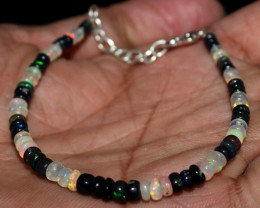 15 Crt Natural Ethiopian Fire Opal & Smoked Opal Beads Bracelet 27