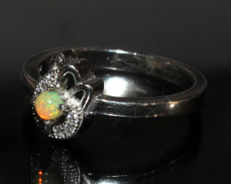 Natural Ethiopian Welo Fire Opal 925 Silver Ring Size ( 6.5 US) 31