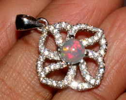 Natural Ethiopian Welo Fire Opal 925 Sterling Silver Pendant 46