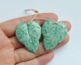72cts New arrival natural amazonite carved leave earring pairs semi-gem (A6